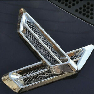 2x-Voiture-SUV-Style-Plastique-Chrome-Air-Flow-Fender-Side-Vent-Decoration-Autocollants