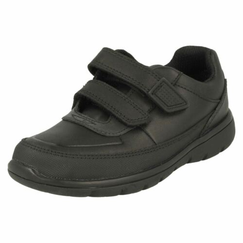 Boys Clarks Venture Walk Black Leather School Shoes