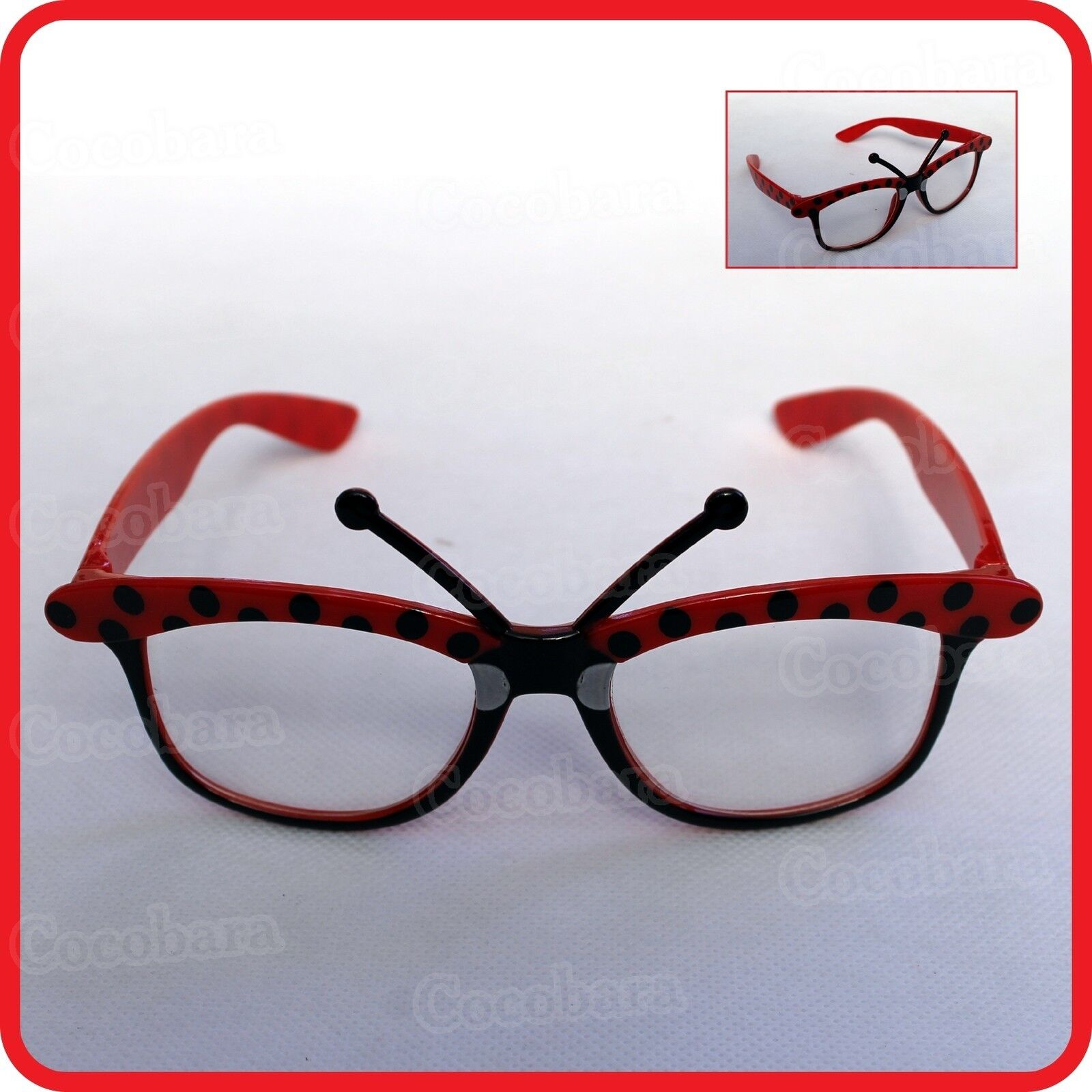 CUTE RED LADYBUG LADYBIRD LADY BEETLE GLASSES-FUNNY COSTUME-DRESS UP-PARTY