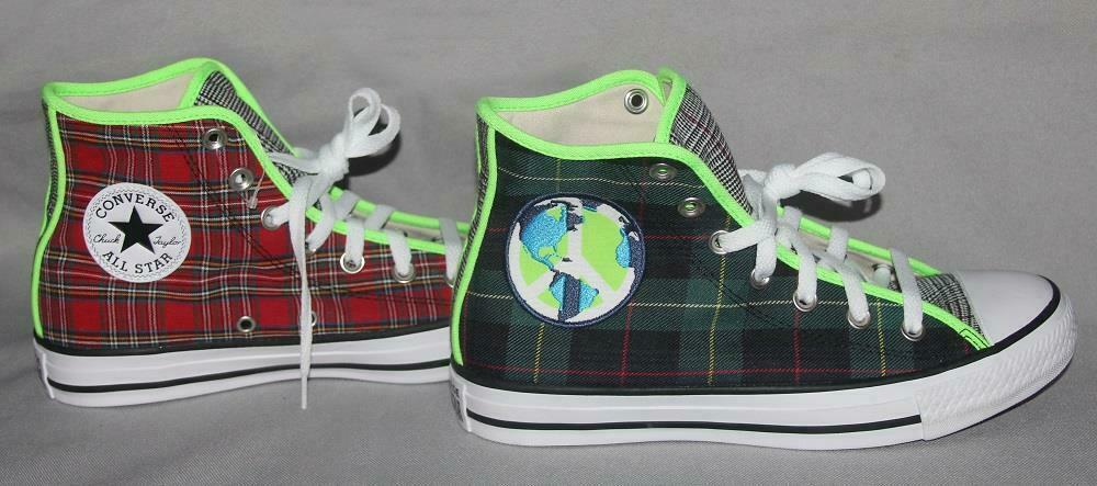 Converse PEACE ON EARTH Varied Plaid Sides Front Neon Green Trim M-6 / W-8 NEW