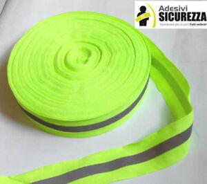 Nastro riflettente rifrangente fluo da cucire combinato giallo/grigio 30mm new!