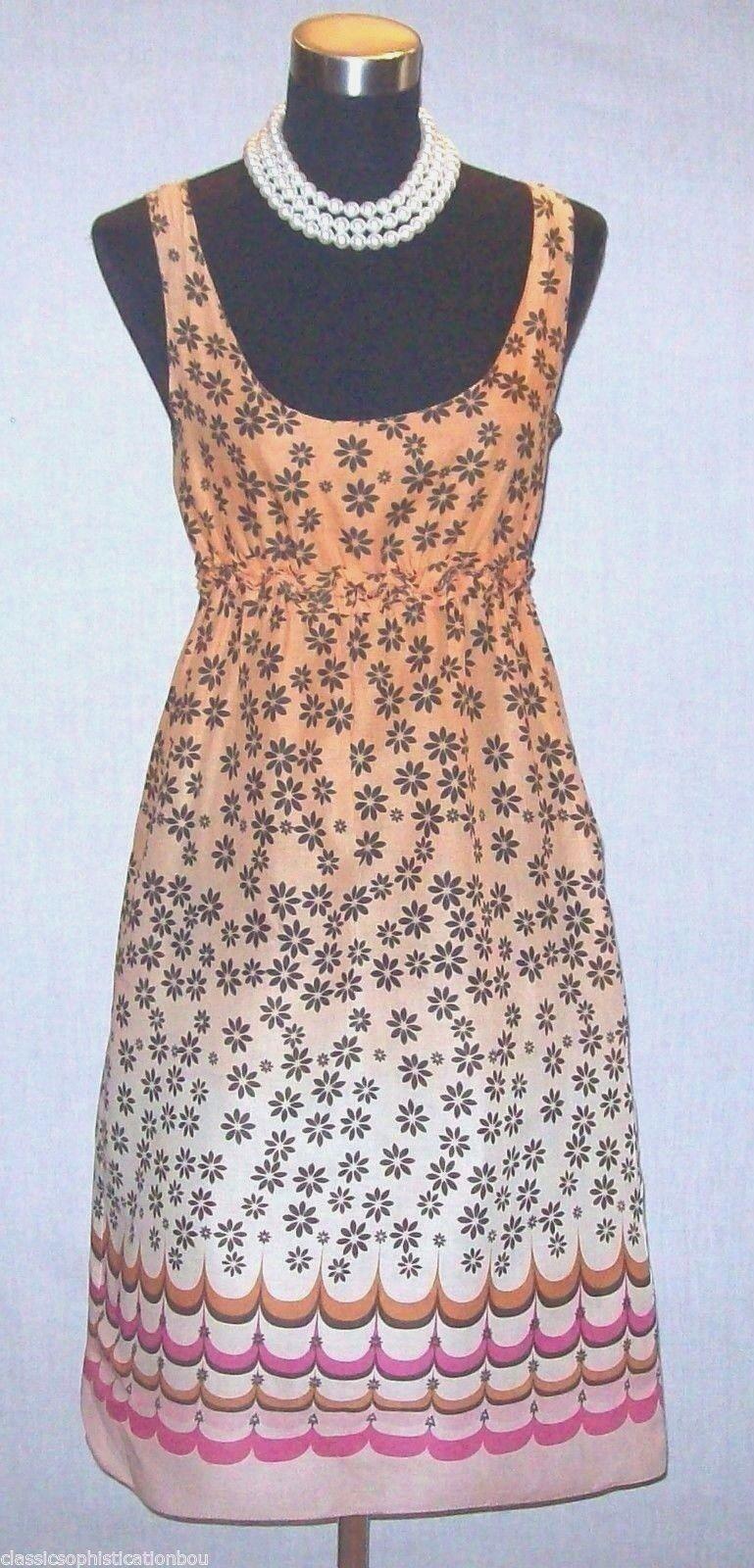 Woherren Max Studio Dress S Fit & Flare braun Beige Rosa Cotton DRESS  NEW