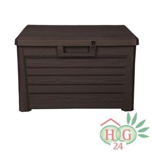 Kissenbox Auflagenbox Wood Holz Design Kunststoff braun Garten Sitzkissen Box