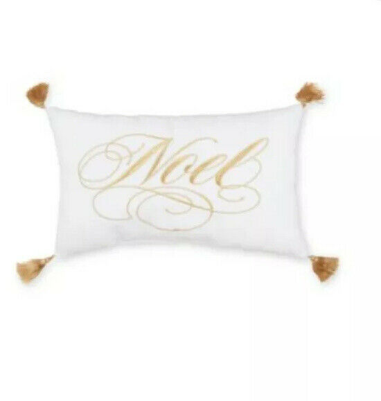 Noel Throw Pillow White Gold Christmas 13x7 Small Lumbar Toss New For Sale Online