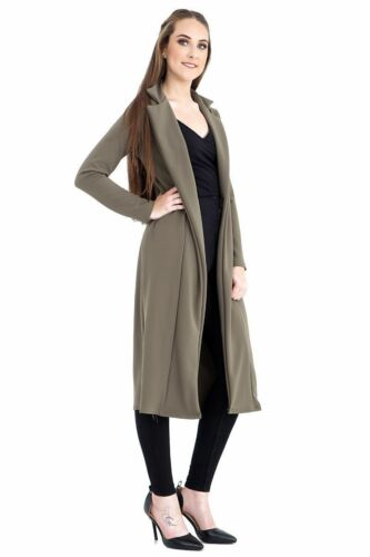 Womens Celeb Inspired Long Sleeve Collared Slinky Duster Coat Jacket UK 8-14