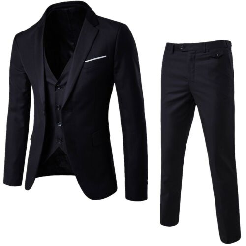 Business Men's Suit Slim 3-Piece Suit Blazer Wedding Party Jacket Vest /& Pants 9