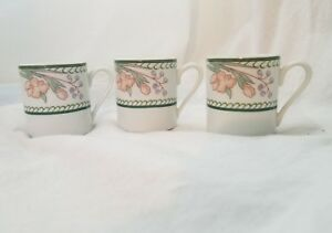 Lot-of-3-Demitasse-Porcelain-Porcelana-Cup-Schmidt-Brasil-Flowers-Floral