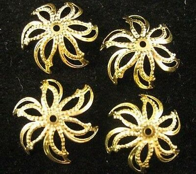 100pcs Gold Plated Flower Bead Caps E599