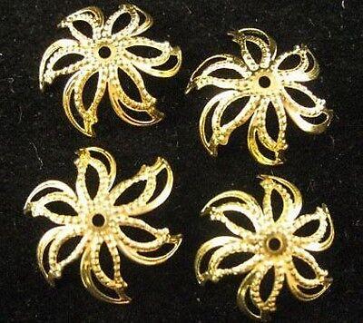 100pcs Gold Plated Flower Bead Caps E599