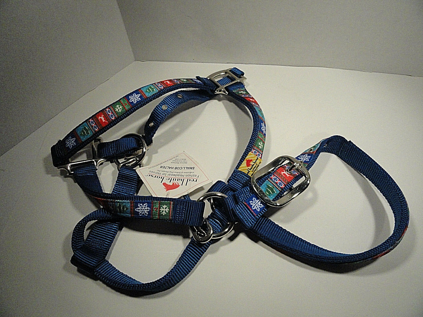 Red Haute Horse Small   Cob Halter Alpine on bluee Nylon