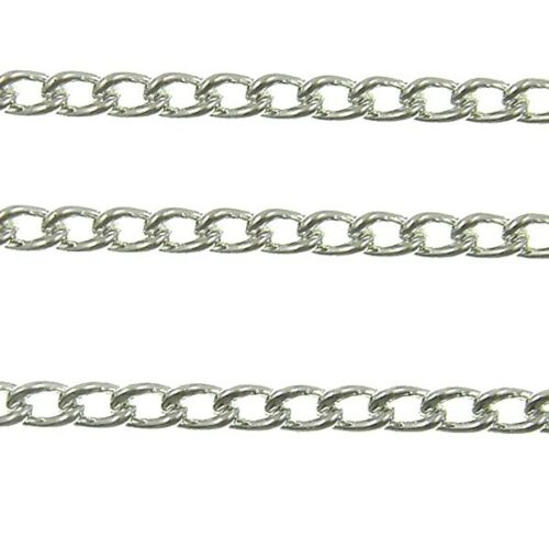 Steel Curb Chain Silver Plated 4 Sizes For Jewellery Making x 1 Metre