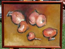 Original Oil on Canvas Still Life of Red Onions by Listed Artist Don Gray