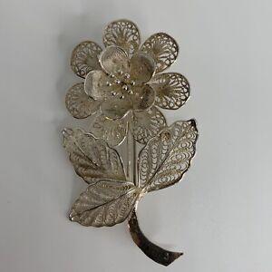 VINTAGE-Filigree-Flower-925-Sterling-Silver-Brooch-Pin-6g-Dainty-Intricate