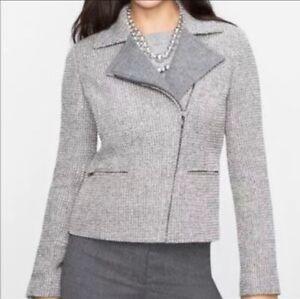 Talbots-Boucle-Wool-Bld-Tweed-Metallic-Full-Zip-Moto-Jacket-Blazer-Womens-Sz-12