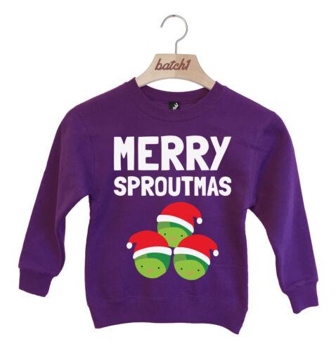 LOTTO 1 Merry sproutmas Natale Cavoletti di Bruxelles Festive Natale Bambini Felpa