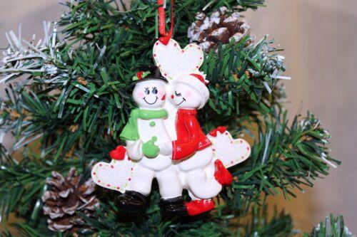 Personnalisé Noël//Noël Arbre Ornement Décoration-Neige Amoureux Couple