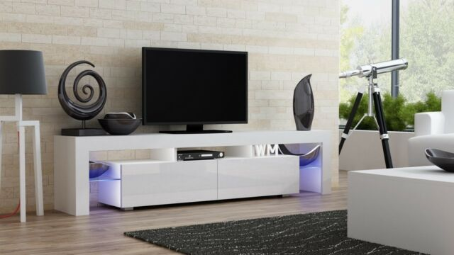Milano 200 White Modern Living Room Tv Stand Console Table For Flat Screens