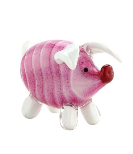 "New 6/"" Hand Blown Art Glass Pig Figurine Sculpture Statue Pink White Decorative"