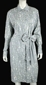 TOMAS MAIER White & Blue Paint Splatter Striped Cotton Shirt Dress 8