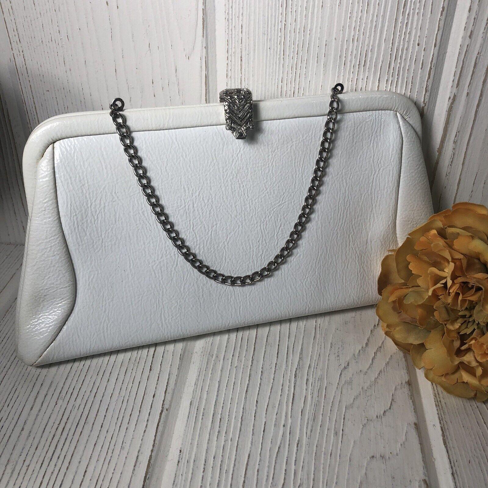 Vintage White Vinyl Purse Bag Clutch Chain Strap