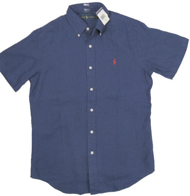 6ee042c15 Ralph Lauren Polo Mens SS Button Down Linen Shirt Pony Logo Navy ...