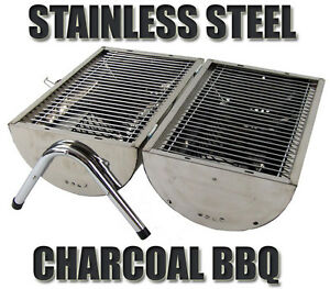 Image Is Loading Portable Stainless Steel Barrel Charcoal Grill BBQ Wood