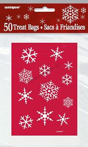50 X Christmas Xmas Party Red Snowflakes Treat Loot Lolly Bags Holy Santa Sack Ebay