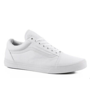 Vans OLD SKOOL Mens Womens True White Canvas Lace Skateboard Shoes ...
