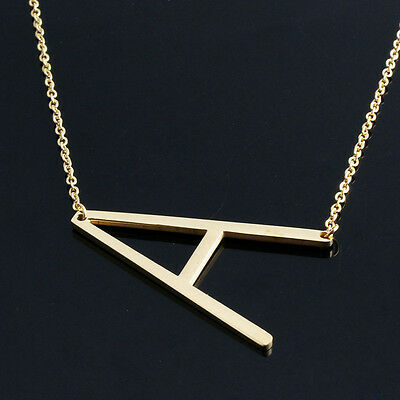 Women Stainless Steel Chain Jewelry Big 26 ABC Letter Pendant Necklace 2 Colors