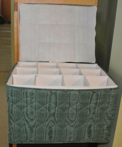 Green Fabric Quilted Glasses Crystal Flutes Storage Set Case Container USA
