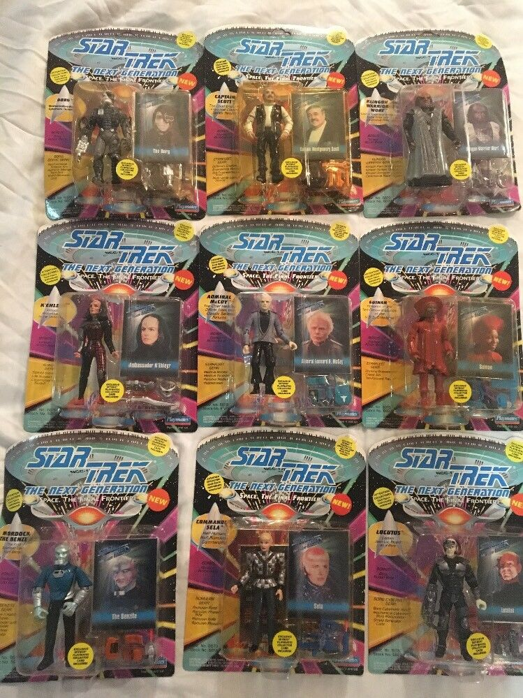 Star Trek TNG Set Of 9 Playmates Action Figures - Unopened - Unpunched