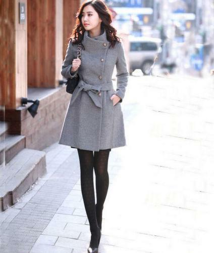 Trench Coat Long Overcoat Outwear Vinter Varm Blend Thicken Parka Womens Wool 0Y6Uaq0w