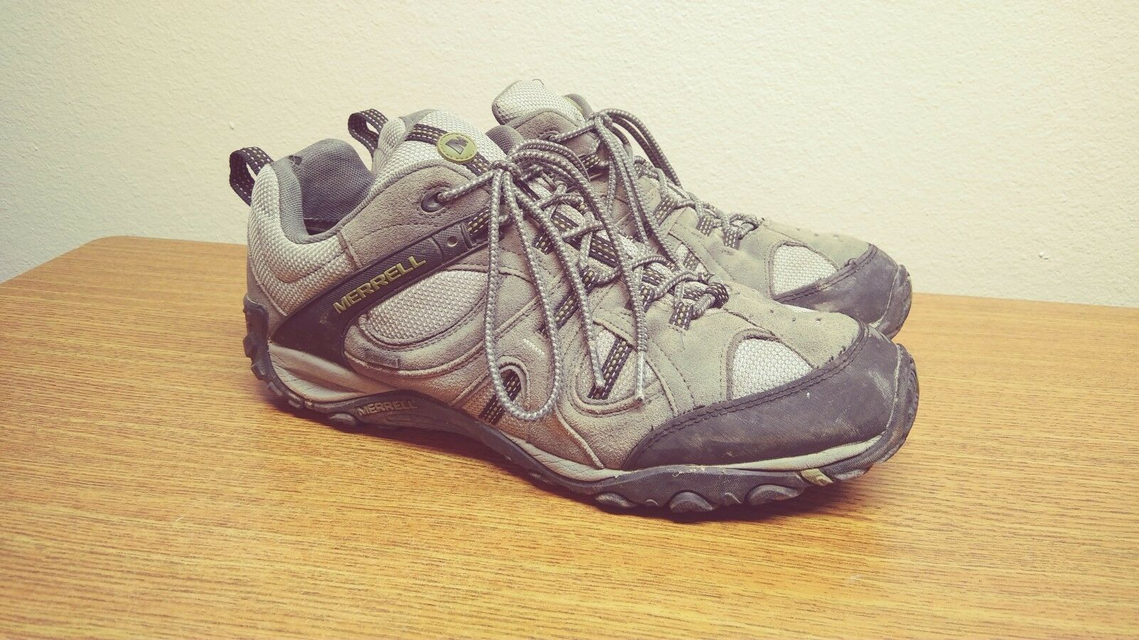 Mens 13 Merrell Gray Hiking Trail Athletic Running Shoes