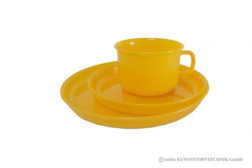 Gedeck 3-tlg orange Geschirr Kunststoff Camping Haushaltswaren Made in Germany
