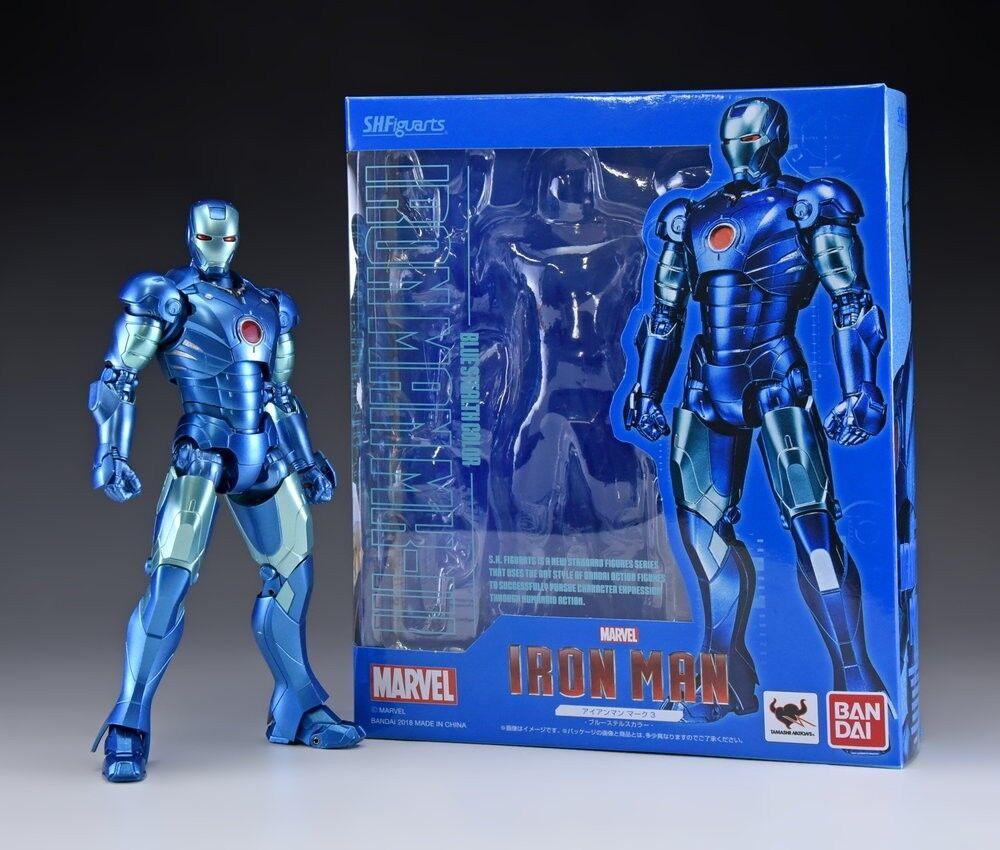 TAMASHII Comic-Con S.H Figuarts Iron Man Mark 3 Ⅲ Blau Stealth Exclusive ,NEW