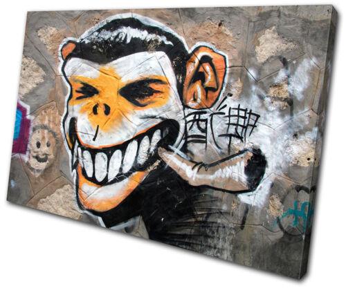 Graffiti Monkey Urban Smoking  SINGLE CANVAS WALL ART Picture Print VA
