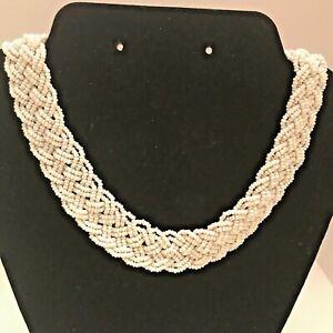 Vintage Braided Necklace Multi-Strand White Seed Bead Choker Collar J6085