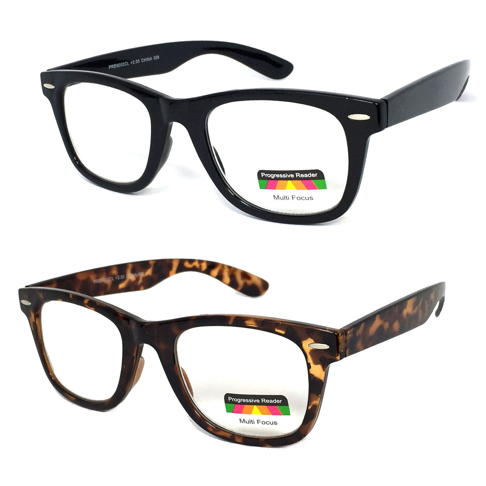 8b38094d4d Details about Square Frame Multi Focus Progressive Reading Glasses 3  Strengths in 1 Reader