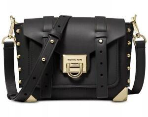 Details about ❤️ Michael Kors Manhattan Leather Black/Gold Crossbody