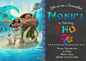 Image Is Loading Disney Moana Movie Birthday Invitations Print Your Own