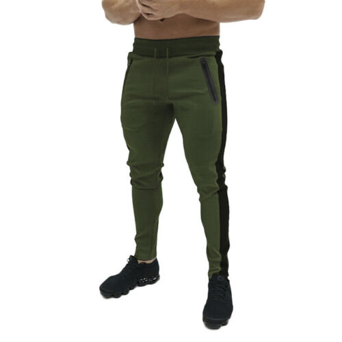 Men Slim Fit Stripe Tracksuit Bottoms Skinny Joggers Sweat Pants Gym Trouser HF