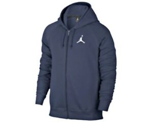 Pile Navy Jumpman Air Con Zip Nike Cappuccio Felpa Jordan Flight Originale In 40fqTx