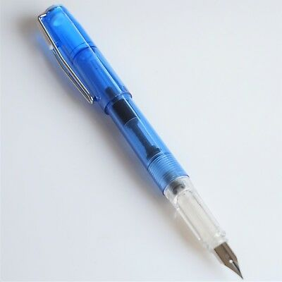 Wing Sung #3001A Clear Transparent Lightweight Fountain Pen EF Nib Gold Trim UK