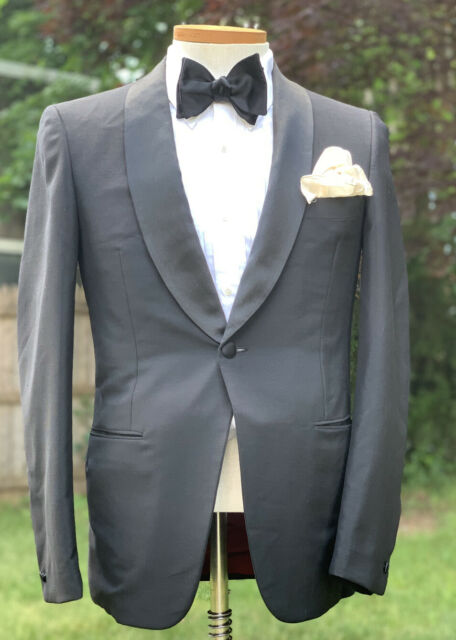 Bespoke Austin Reed Regent St Wool Mohair Black Tuxedo Suit 38 R Made In Italy Ebay