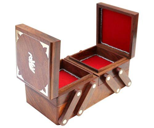 Vintage Wooden Box Jewelry Organizer Elephant Hand Carved Storage Box