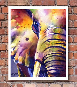Elephant Art Print Sepia Watercolor Wildlife Painting by Artist DJR