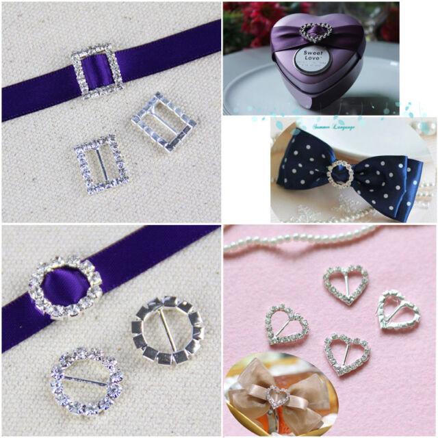 5-20 pieces Rhinestone Buckle Invitation Ribbon Slider For Wedding Supplies JUST