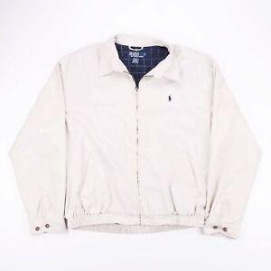 Vintage-POLO-RALPH-LAUREN-Cream-Check-Lined-Bomber-Harrington-Jacket-Mens-Size-L