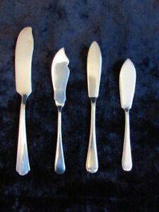 JOB-LOT-OF-4-MIXED-VINTAGE-SILVER-PLATED-FISH-KNIVES