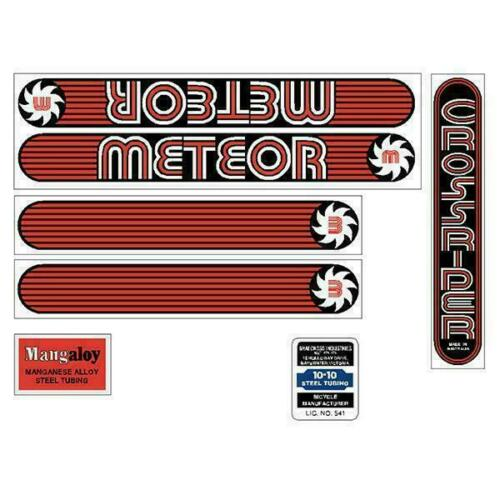 METEOR Old school bmx Crossrider Red decal set